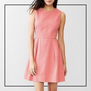 Coral pink linen Gap fit and flare dress